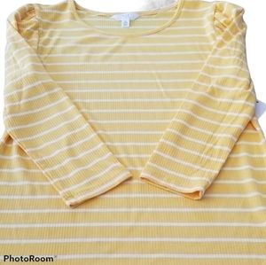 NWT Time and Tru Yellow Striped Shirt Small
